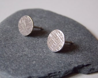 Round silver stud earrings. Hand made for women