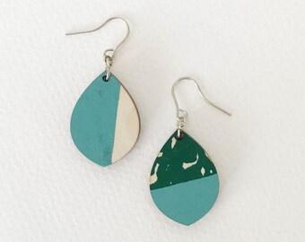 Wooden earrings--lightweight teardrop in Sommerfeeling Blue