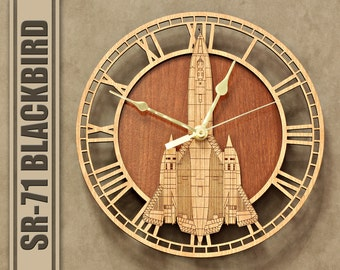 SR-71 Blackbird Wooden Wall Clock, United States Air Force, Aircraft Gift, Airplane, Wood Clock, Aviation Gift, Military Gift, Pilot Gift