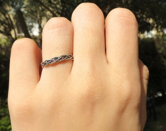 Silver Braided Ring, Stacking Ring, Dainty Silver Ring, Silver Stacking Ring, Unique Friendship Ring, Thin Everyday Ring, Braided Ring