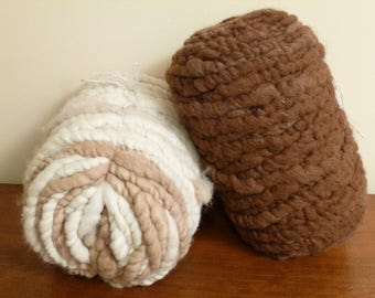 Alpaca Rug Yarn; Super Soft Alpaca Fleece Core Spun Into 90 Yard Bumps