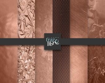 Digital texture: COPPER DIGITAL PAPER | digital paper | Backgrounds | Instant Download | foil digital paper | copper paper | digital clipart