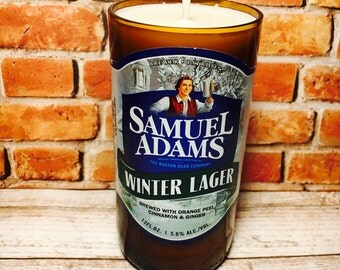 Samuel Adams Winter Lager beer bottle candle