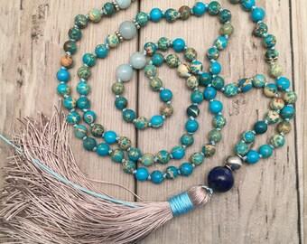 Jasper 108 Mala Necklace/Mala Bead Necklace/Meditation Beads/Yoga Necklace/Boho Tassel Necklace/Silk Tassel/Hand-knotted/Mala Beads