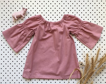 Baby Girl Cotton Dress Gathered Sleeve Neckline ~ Dusty Pink