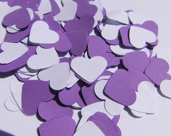 Heart confetti purple wedding confetti white hearts paper confetti table decorations wedding table decoration Purple Heart White confetti hearts