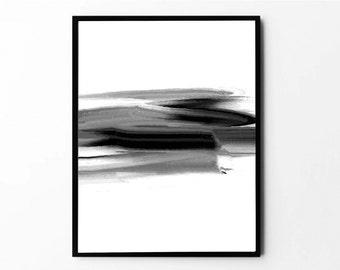 Printable Wall Art, Black Abstract Print, Abstract Art, Minimalist Print, Brush Stroke, Modern Wall Art, Printable Poster, Printable Gifts
