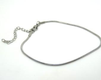 Stainless steel snake chain bracelet blank |  stainless metal stamping blank| european charm bracelet
