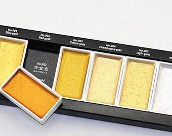 Kuretake Gansai Tambi Starry Colors, Gold Metallic Watercolor Paints Set, Watercolors from Japan, Painting, Calligraphy Paint, Handlettering