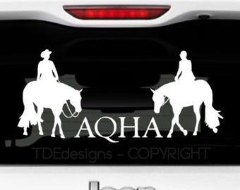 AQHA Horse Vinyl Car Decal Western Pleasure English Pleasure - English Hunt Seat - American Quarter Horse Association - equestrian decal