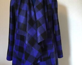 Beautiful Plaid dark Blue And Black lightwaight stretchy Fleece Jacket/Cardigan Jackets/Handmade Women Jackets/Gift Ideas.