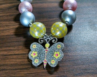 Butterfly Spring Easter Girls Bubblegum Necklace