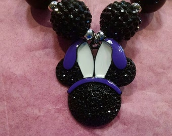 Mouse with Bunny Ears Girls Chunky Bubblegum Necklace.  Purple Bunny Ears Mouse Gumball Necklace.