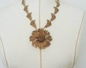Vintage Frayed Gold Pendant Necklace