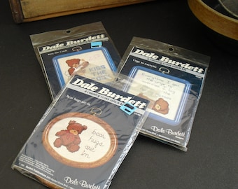 3 Vintage Country Cross Stitch Patterns Kits, Dale Burdett, Adorable Bear Motif, Unopened, Complete Kits, Cross Stitch for Kids, Fun Project