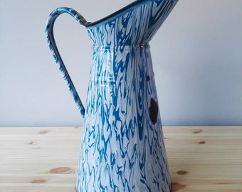 French Enamel Marbled Pitcher - Enamelware Jug - Vintage Graniteware - Green Blue and White Enamelled Jar