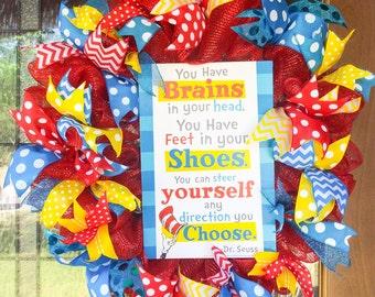 Dr. Seuss Wreath, Teacher Wreath, Classroom Wreath, Teacher Appreciation Wreath, Cat in The Hat Wreath, School Wreath, Classroom Door Hanger