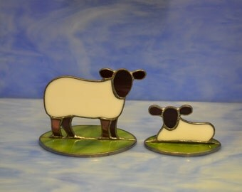 Stained Glass Sheep Ewe and Lamb Suncatcher Decoration Hand made