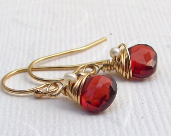 Small red Garnet Earrings, goldfilled white seed Pearl, wrapped earrings gold plated,