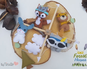 Baby Mobile - forest mobile - Crib Mobile - Cot Mobile - Forest Creatures Mobile - Superhero Mobile - hanging mobile