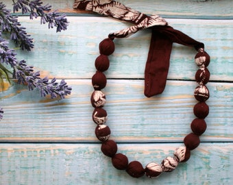 Dark brown Handmade bohemian necklace wooden beads Textile Bead Necklace designer fabric necklace, textile jewellery, natural boho
