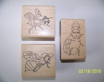 Set of 3 Wood-Mounted Bug Rubber Stamps