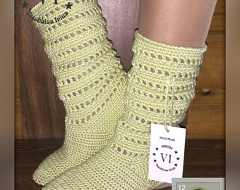 Crocheted Outdoor Summer / Wedge Boots/ Folk Tribal/ Made to Order/ Women Fashion Boots/ Boho style/ Women's Summer Boots