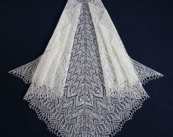 White lace knitted mohair shawl hand knit shawl wrap