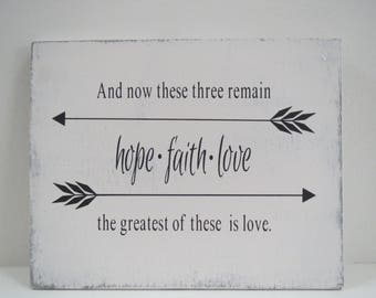Religious Sign/Hope-Faith-Love Sign/Bible Verse Sign/Hand Painted Sign