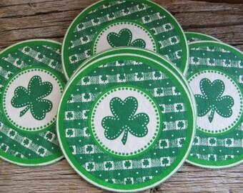 Green shamrock coasters (set of 13) / Green round paper coasters / Irish shamrock coasters