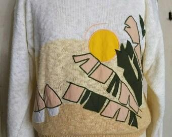 Vintage palm pattern sweater