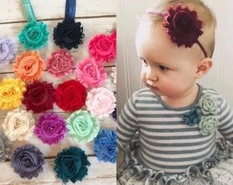 PICK 4 Baby Headbands/Newborn Headband/Baby Girl Headband/Toddler Headband/Infant Headband/Shabby Chic Headband/Girl Headband/Baby Hair Bow