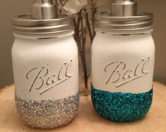 Mason Jar glitter soap dispenser