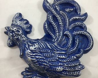 Vintage Blue and Silver Chalk Ware Crowing Rooster Wall Hanging