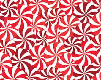 """Last Fat Quarter, Candy Swirls in Red and White from the Winter Novelties Collection from Benartex 18""""x22"""""""