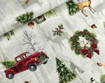 Multi Allover Cabin with Metallic Accents from the Cozy Cabin Christmas Collection by Sandy Clough for Red Rooster Fabrics, Rustic Christmas