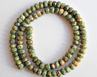 Natural Rhyolite Jasper Faceted Rondelle 6mm Loose Beads, Natural Gemstone Beads, Semi precious Gemstone Beads, Wholesale Beads, Green Beads