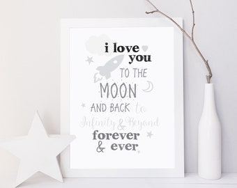 I love you to the moon and back,kids room decor,grey nursery prints, moon nursery print, grey nursery decor,kids room prints, Gift For Kids,