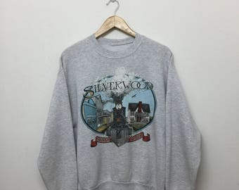 Vintage 80s Silverwood North Idaho Crewneck Sweatshirt/Cotton Blend/Heather Grey/Size M