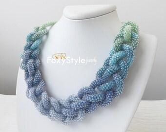 beaded necklace blue wedding necklace bridal blue necklace crochet necklace bib necklace handmade necklace jewelry gift idea braid jewelry