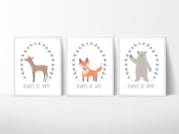 Lot de 3 affiches animaux affiche ours affiche renard for Affiches scandinaves