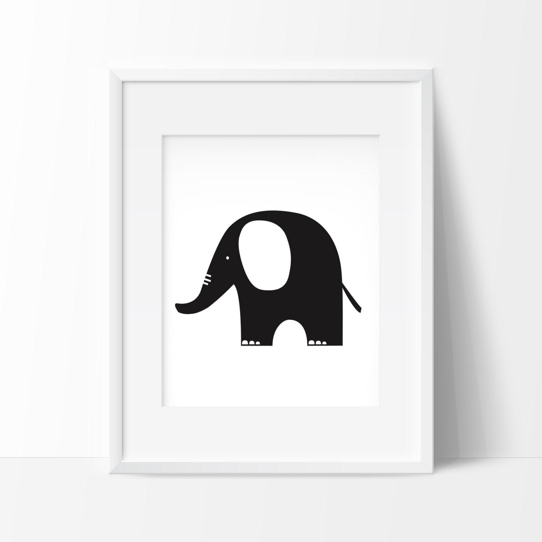 Affiche éléphant Noir et Blanc Deco chambre bébé Noir et