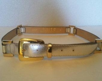 Vintage 70s Silver & Gold Metallic Leather Belt M