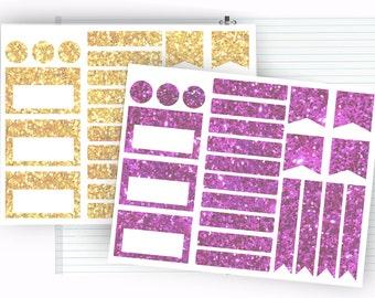 Glitter stickers, Pink Glitter Stickers, Gold Glitter Stickers, Planner Stickers, Glitter Planner Stickers, Pink and Gold Stickers, Weekly