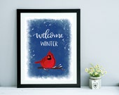 Welcome Winter | Art Print | Handlettered Print
