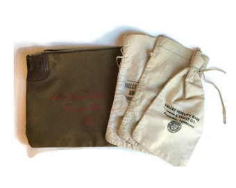 Vintage Money Bag Lot of 4, Vintage Bank Bag Lot, Knoxville Tennessee Money Pouch Lot, Embroidered Deposit Bank Bag, Vintage Craft Supplies