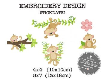 Embroidery Design File Monkey Ape Chimp Jungle Zoo Flower 4x4 5x7