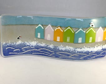 Nautical Glass S Curved Plaque,Candle Display, Beach Huts & Seagulls, Fused Glass, Kilnformed Glass, Home Decor, Gift for her, Birthday Gift