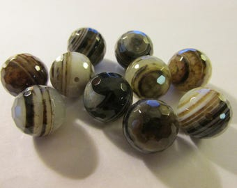 Heaven's Eyes Banded Agate Gemstone Faceted Beads, 12mm, Set of 10
