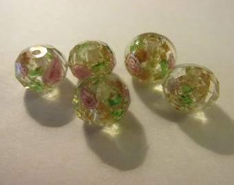 Facted,Champagne-Colored Lampwork Glass Beads with Mini Pink Roses, 12mm, Set of 5